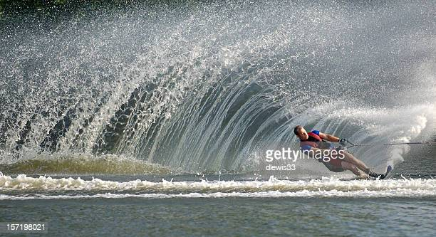 waterskier in action - waterskiing stock photos and pictures