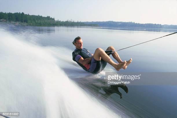 Water-skiing barefoot
