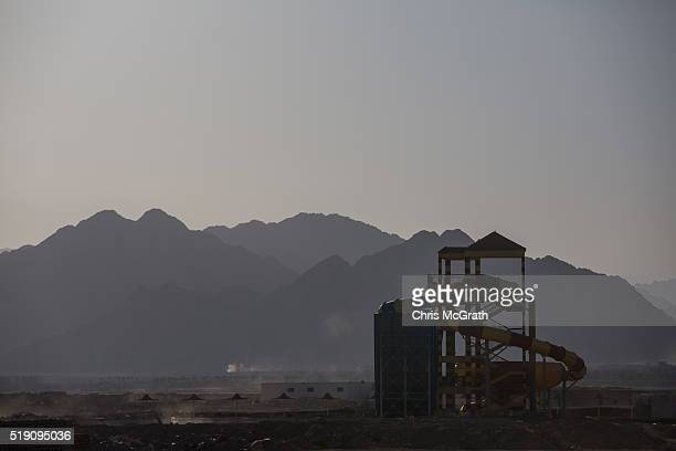 A waterslide under construction is seen on April 3 2016 in Sharm El Sheikh Egypt Prior to the Arab Spring in 2011 some 15million tourists would visit...