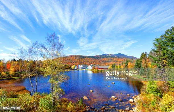waterville valley, new hampshire town center nestled in the white mountains - new hampshire stock pictures, royalty-free photos & images