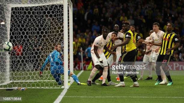 Watford and Manchester United players react following a missed chance during the Premier League match between Watford FC and Manchester United at...