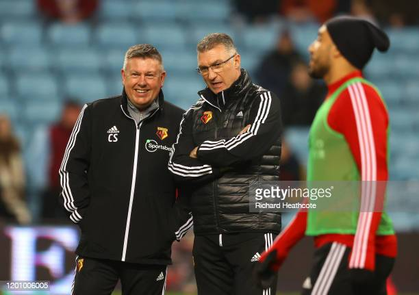 Watford Assistant manager Craig Shakespeare and Nigel Pearson Manager of Watford look on prior to the Premier League match between Aston Villa and...