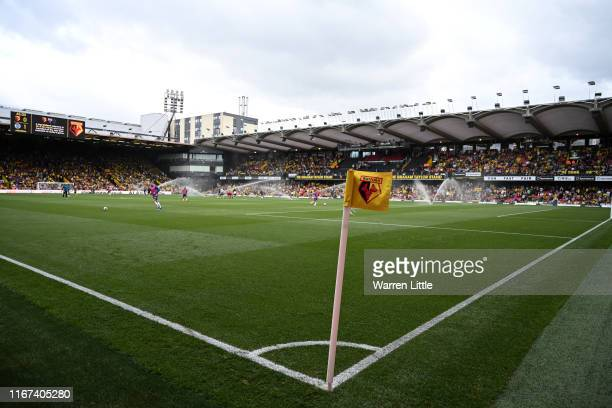 Watford branded corner flag is pictured during the Premier League match between Watford FC and Brighton & Hove Albion at Vicarage Road on August 10,...