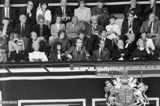 Watford chairman Elton John pictured watching the 1984 FA Cup Final at Wembley Stadium Final score Everton 2 v Watford FC 0 19th May 1984