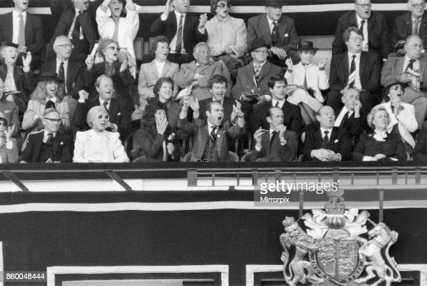 Watford chairman Elton John and Renate Blauel pictured watching the 1984 FA Cup Final at Wembley Stadium Final score Everton 2 v Watford FC 0 19th...