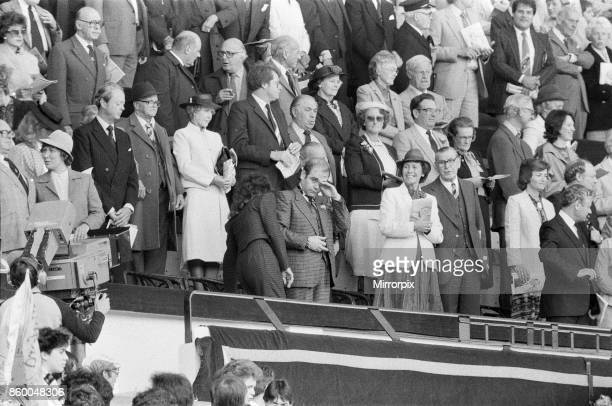 Watford chairman Elton John in tears as the cup final crowd at Wembley sing Abide With Me before kick off Pictured watching the 1984 FA Cup Final at...