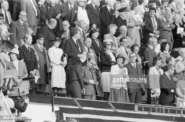 Watford chairman Elton John in tears as the cup final crowd at Wembley sing 'Abide With Me' before kick off Pictured watching the 1984 FA Cup Final...