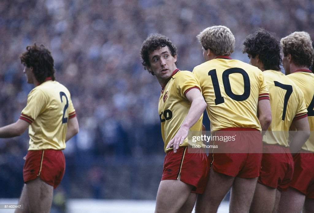Watford defender Wilf Rostron organises their defensive wall during their 1st Divison match against Chelsea at Stamford Bridge, 13th October 1984. Chelsea won 3-2. (Photo by Bob Thomas/Getty Images).
