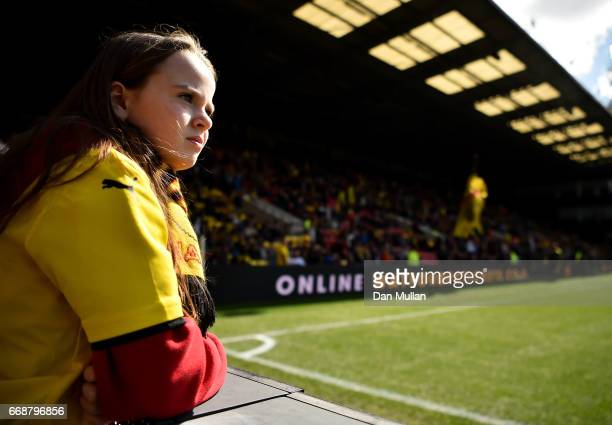 Watford fan looks on prior to the Premier League match between Watford and Swansea City at Vicarage Road on April 15 2017 in Watford England