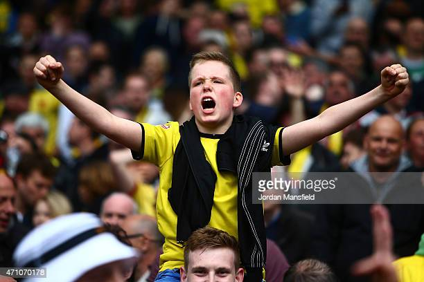 Watford fans celebrate after Matej Vydra of Watford scores to make it 2-0 during the Sky Bet Championship match between Brighton & Hove Albion and...