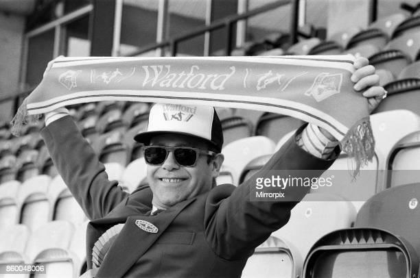 Watford FC Chairman Elton John at Vicarage Road home of Watford football club 18th October 1986