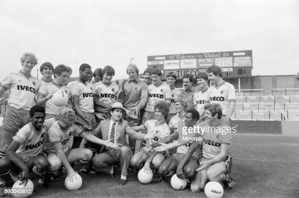 Watford FC chairman Elton John with Watford football team at a photocall 29th August 1982