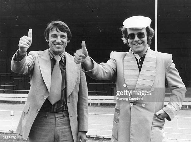 Watford FC's chairman Elton John seen here with their recently appointed manager Graham Taylor Original Publication People Disc HW0551