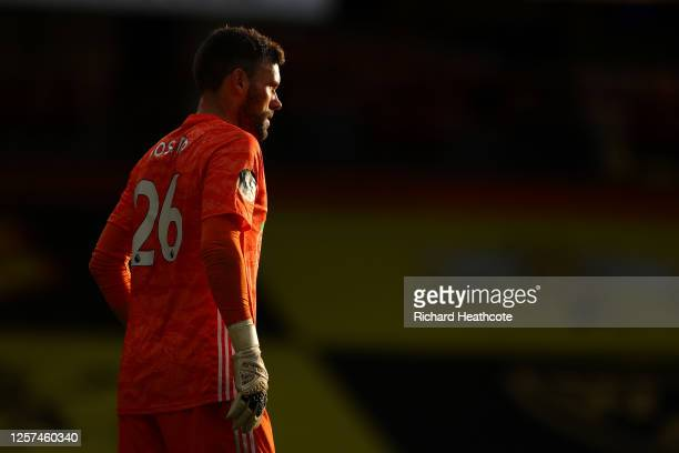 Watford goal keeper Ben Foster in action during the Premier League match between Watford FC and Manchester City at Vicarage Road on July 21, 2020 in...