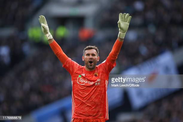 Watford goalkeeper Ben Foster celebrates during the Premier League match between Tottenham Hotspur and Watford FC at Tottenham Hotspur Stadium on...