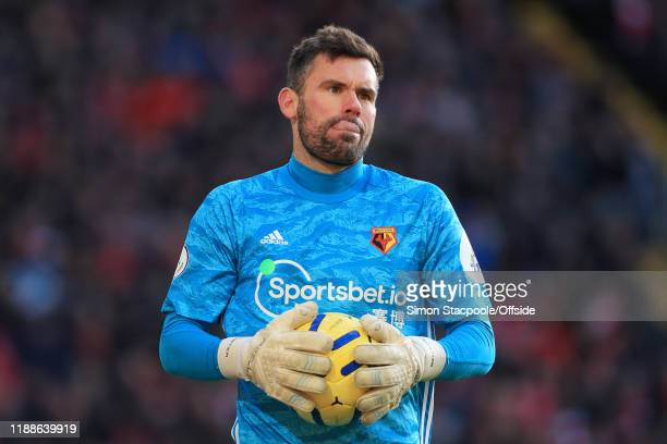 Watford goalkeeper Ben Foster looks on during the Premier League match between Liverpool FC and Watford FC at Anfield on December 14, 2019 in...