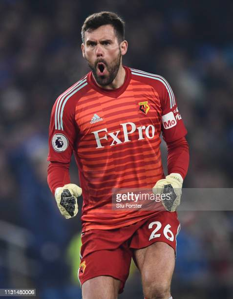 Watford Goalkeeper Ben Foster reacts during the Premier League match between Cardiff City and Watford FC at Cardiff City Stadium on February 22, 2019...
