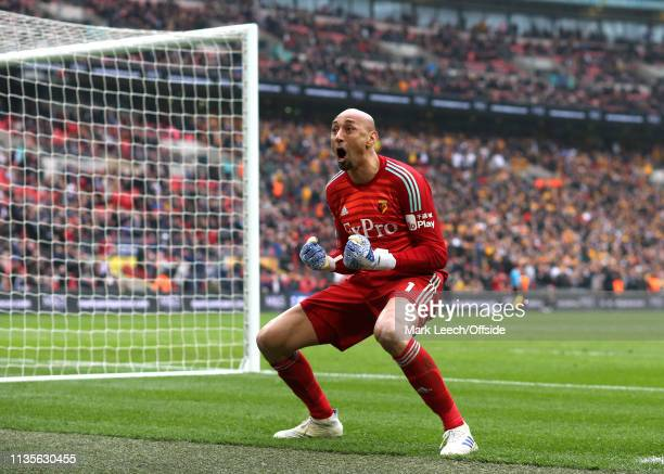 Watford goalkeeper Heurelho Gomes celebrates during the FA Cup Semi Final match between Watford and Wolverhampton Wanderers at Wembley Stadium on...