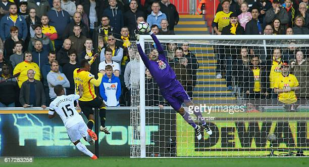 Watford goalkeeper Heurelho Gomes makes a save during the Premier League match between Swansea City and Watford at Liberty Stadium on October 22 2016...
