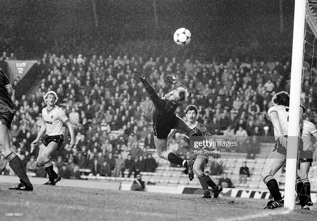 Watford goalkeeper Steve Sherwood makes a save against Liverpool during a First Division match at Anfield, Liverpool, circa 1984.