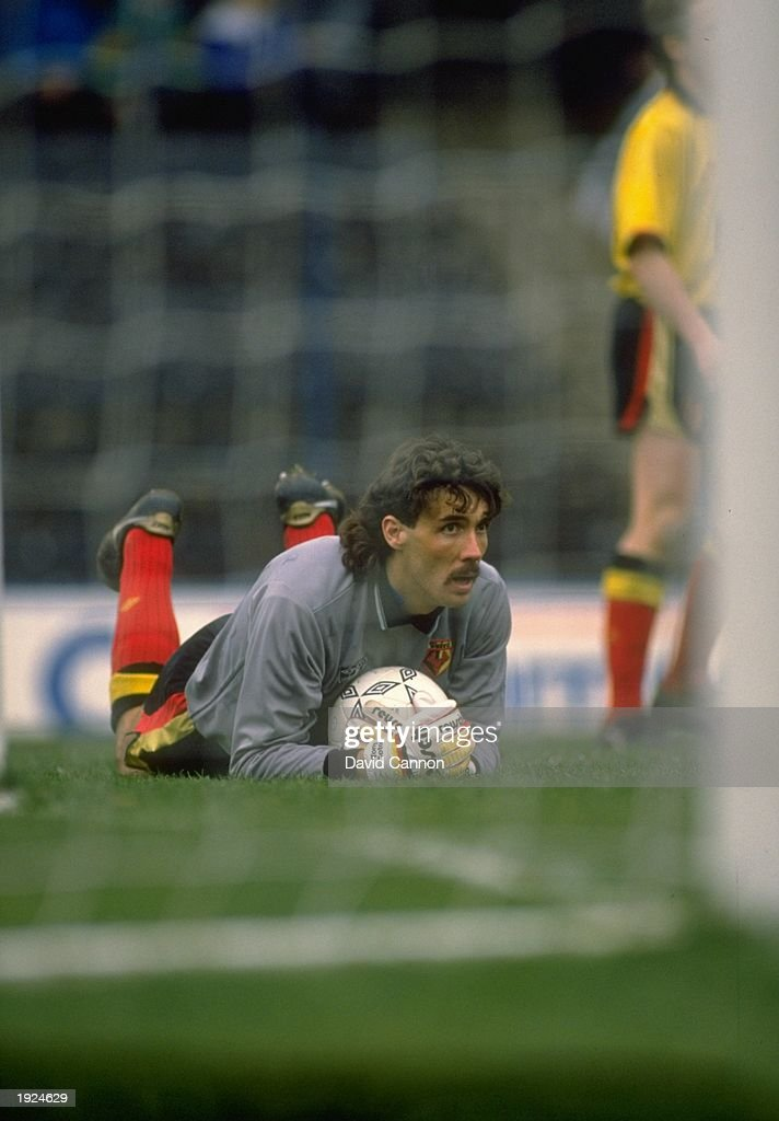 Watford goalkeeper Tony Coton holds on tight to the ball during a Barclays League Division One match against Chelsea at Stamford Bridge in London. The match ended in a 2-2 draw. \ Mandatory Credit: David Cannon/Allsport