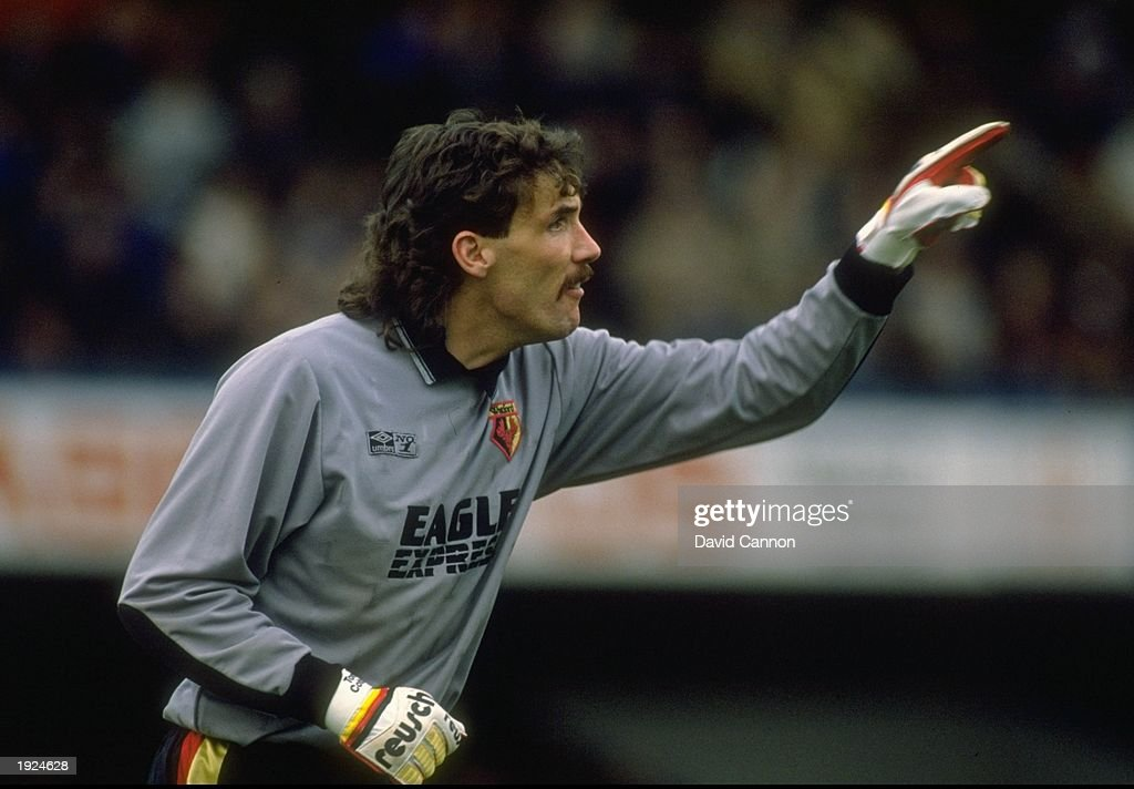 Watford goalkeeper Tony Coton indicates to team mates during a Barclays League Division One match against Chelsea at Stamford Bridge in London. The match ended in a 2-2 draw. \ Mandatory Credit: David Cannon/Allsport