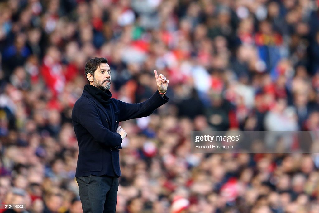 Watford head coach Quique Sanchez Flores during The Emirates FA Cup Sixth Round match between Arsenal and Watford at the Emirates Stadium on March 13, 2016 in London, England.