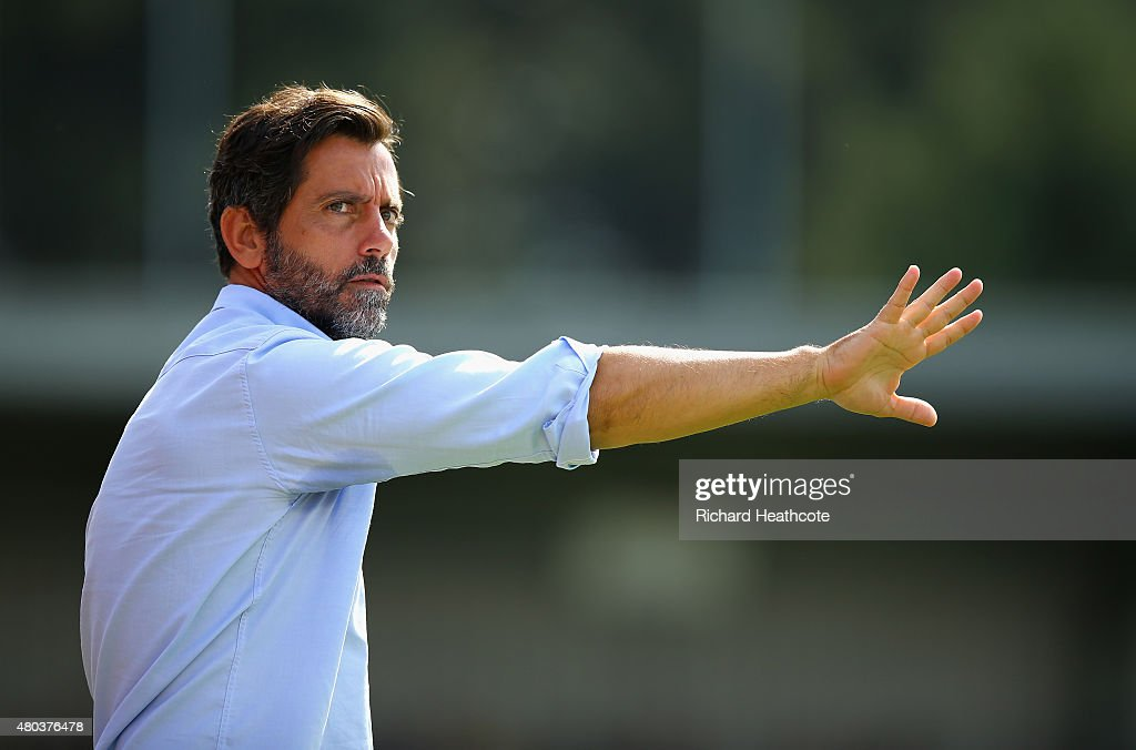 Watford head coach Quique Sanchez Flores during the Pre Season Friendly match between AFC Wimbledon and Watford at The Cherry Red Records Stadium on July 11, 2015 in Kingston upon Thames, England.