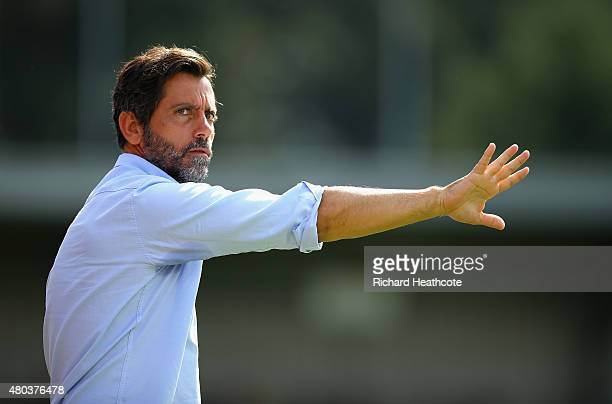 Watford head coach Quique Sanchez Flores during the Pre Season Friendly match between AFC Wimbledon and Watford at The Cherry Red Records Stadium on...