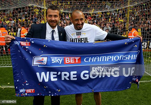 Watford Head Coach Slavisa Jokanovic and goalkeeper Heurelho Gomes celebrate promotion to the premier league after the final whistle during the Sky...