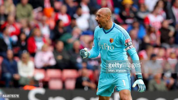 Watford keeper Heurelho Gomes celebrates during the Premier League match between Southampton and Watford at St Mary's Stadium on September 9 2017 in...