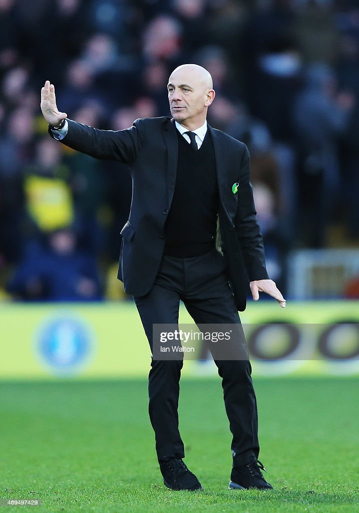 Watford manager Beppe Sannino reacts at the end of the Sky Bet Championship match between Watford and Middlesbrough at Vicarage Road on February 15, 2014 in Watford, England.