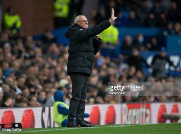 Watford manager Claudio Ranieri during the Premier League match between Everton and Watford at Goodison Park on October 23, 2021 in Liverpool,...
