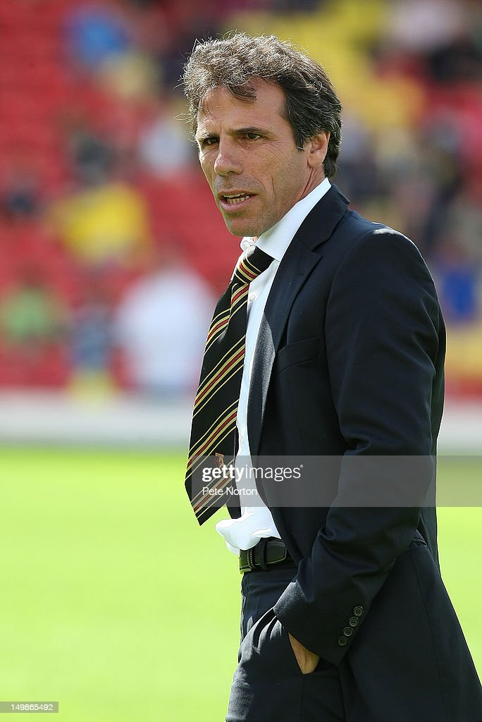 Watford manager Gianfranco Zola looks on during the pre-season friendly match between Watford and Tottenham Hotspur at Vicarage Road on August 5, 2012 in Watford, United Kingdom.