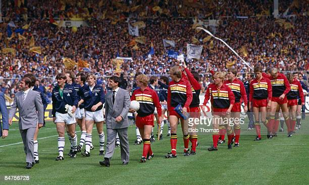 Watford manager Graham Taylor, and Everton manager Howard Kendall lead out their teams before the FA Cup Final at Wembley Stadium, May 19th 1984....