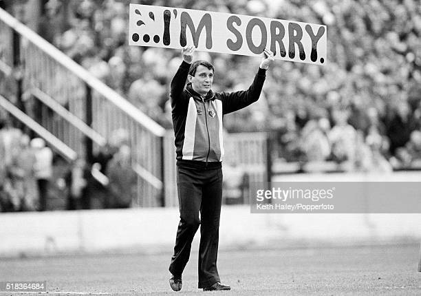 Watford Manager Graham Taylor makes a public apology to the fans during the Second Division match between Watford and Crystal Palace at Vicarage Road...