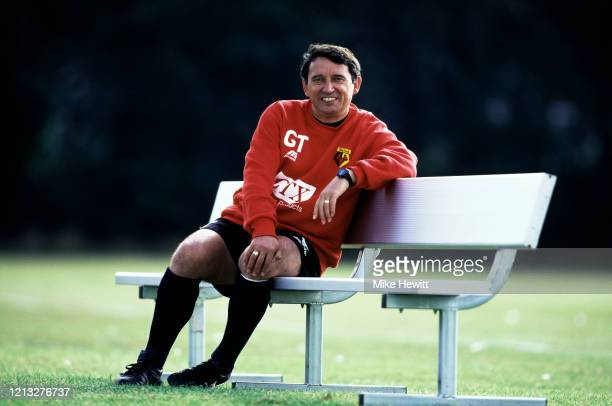 Watford manager Graham Taylor pictured smiling on a bench during a feature in May 1997 in Watford, United Kingdom.