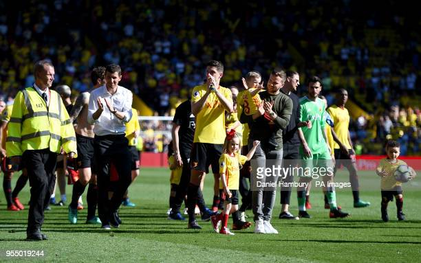 Watford manager Javi Gracia and Watford players celebrate winning 21 against Newcastle United at the end of the Premier League match at Vicarage Road...