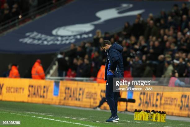 Watford manager Javi Gracia during the Premier League match between Tottenham Hotspur and Watford at Wembley Stadium on April 30 2018 in London...