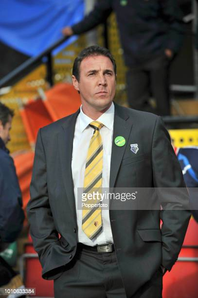 Watford manager Malky Mackay looks on during the Championship match between Watford and Scunthorpe United at Vicarage Road in Watford on October 23,...