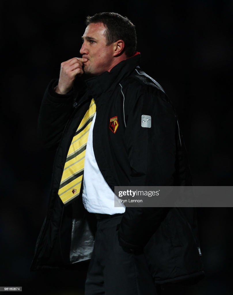 Watford Manager Malky Mackay looks on during the Coca-Cola Football League Championship match between Watford and Crystal Palace at Vicarage Road on March 30, 2010 in London, England.
