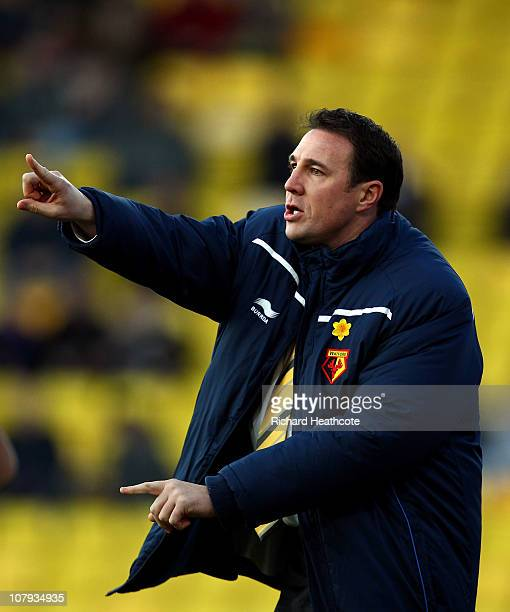 Watford Manager Malky Mackay shouts instructions during the 3rd round FA Cup Sponsored by E.ON match between Watford and Hartlepool United at...