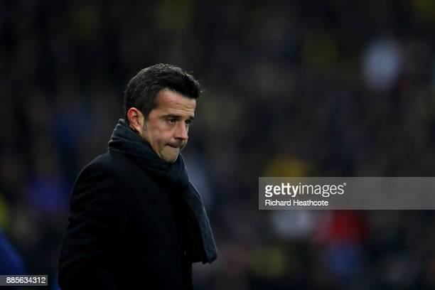 Watford manager Marco Silva looks on during the Premier League match between Watford and Tottenham Hotspur at Vicarage Road on December 02 2017 in...