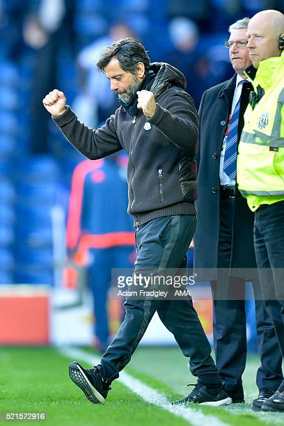 Watford Manager Quique Sanchez Flores celebrates at the end of the Barclays Premier League match between West Bromwich Albion and Watford at The...