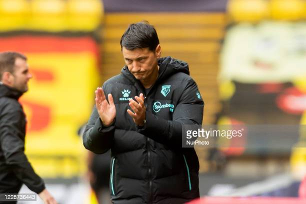 Watford Manager Vladimir Ivic during the Sky Bet Championship match between Watford and Luton Town at Vicarage Road Watford England on September 26...