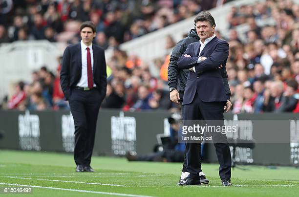 Watford manager Walter Mazzarri looks on during the Premier League match between Middlesbrough and Watford at Riverside Stadium on October 16 2016 in...