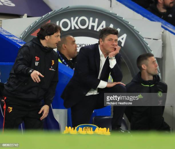Watford manager Walter Mazzarri looks on during the Premier League match between Chelsea and Watford at Stamford Bridge on May 15 2017 in London...
