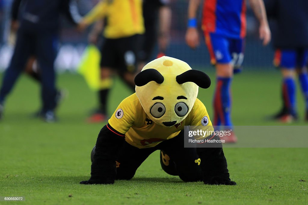 Watford mascot Harry the Hornet dives on the floor at the final whistle mocking Wilfred Zaha of Palace during the Premier League match between Watford and Crystal Palace at Vicarage Road on December 26, 2016 in Watford, England.