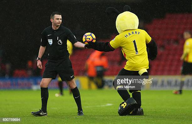 Watford mascot Harry the Hornet hands the match ball to referee Michael Oliver after the Premier League match between Watford and Tottenham Hotspur...