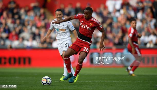 Watford player Andre Carrillo in action during the Premier League match between Swansea City and Watford at Liberty Stadium on September 23 2017 in...